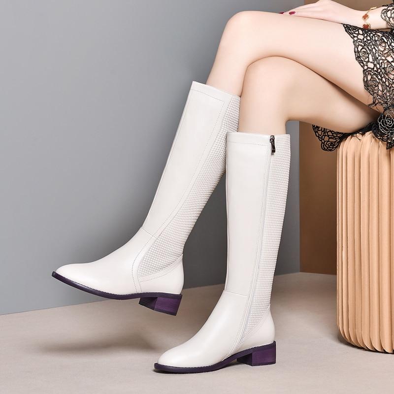 Frauen Winter Schnee Stiefel Aus Echtem leder Ankle Winter Frühling starke ferse stiefel frau Lange Stiefel 2020 zipper frauen stiefel