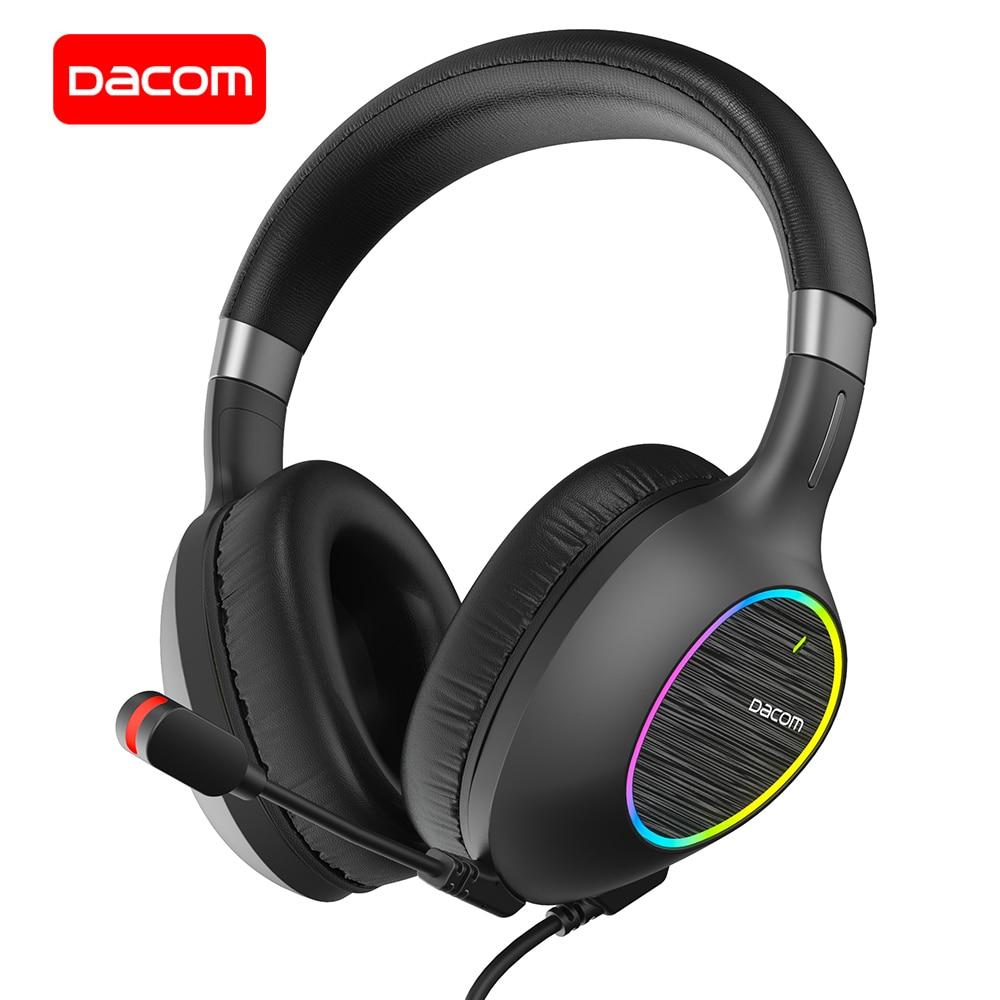 Fone de Ouvido Estéreo com Microfone para Computador Dacom Gaming Headset Surround Sound Wired Over Ear Gamer Baixo Telefone Gh06 7.1