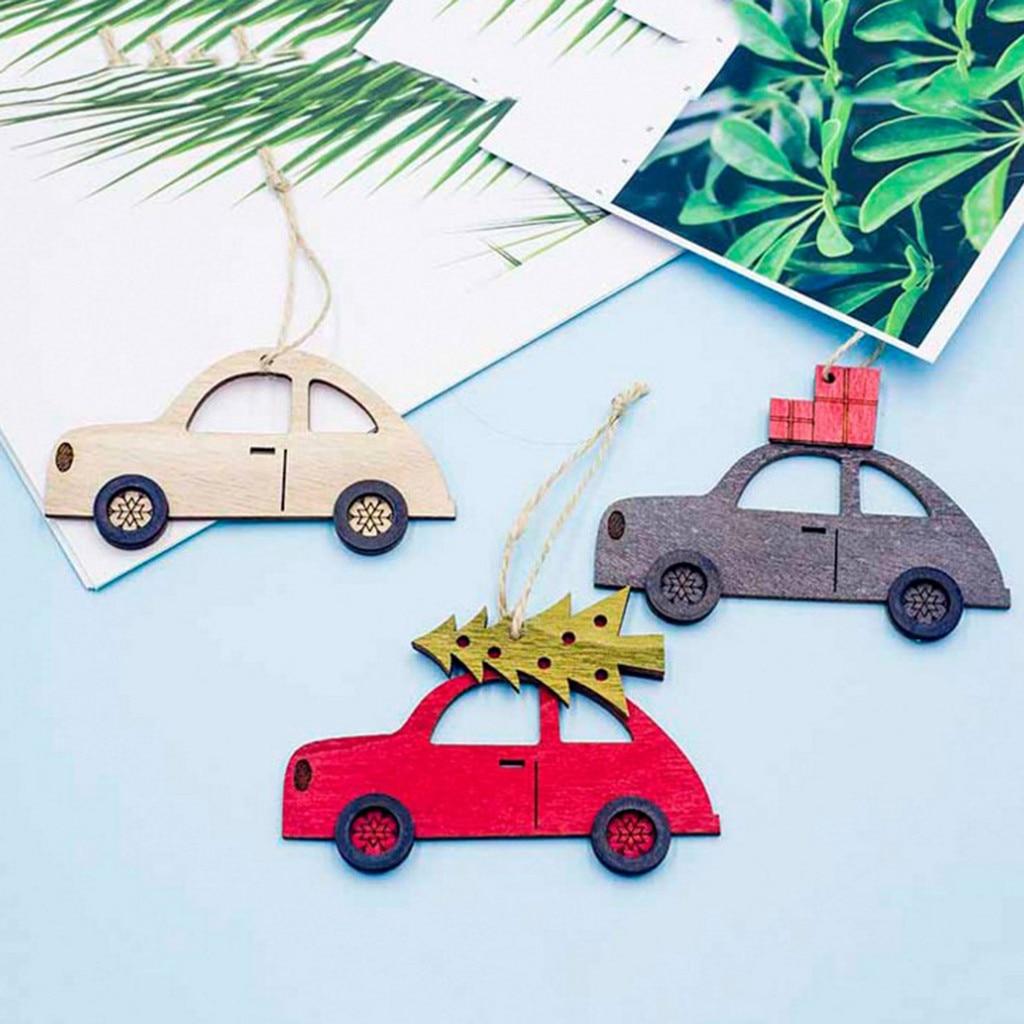 Adornos de madera de Navidad Vintage adornos DIY artesanías de madera pintado coche Navidad árbol adornos Navidad Fiesta decoraciones sep10