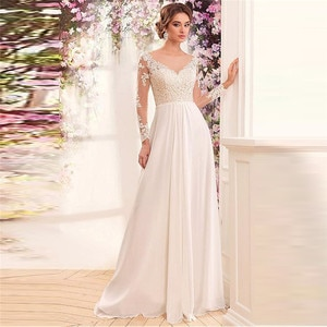Sheer Scoop Long Sleeves Lace Appliques A-Line Chiffon Wedding Dress Sexy Lower Back Women Bridal Gowns 2021 Formal Simple