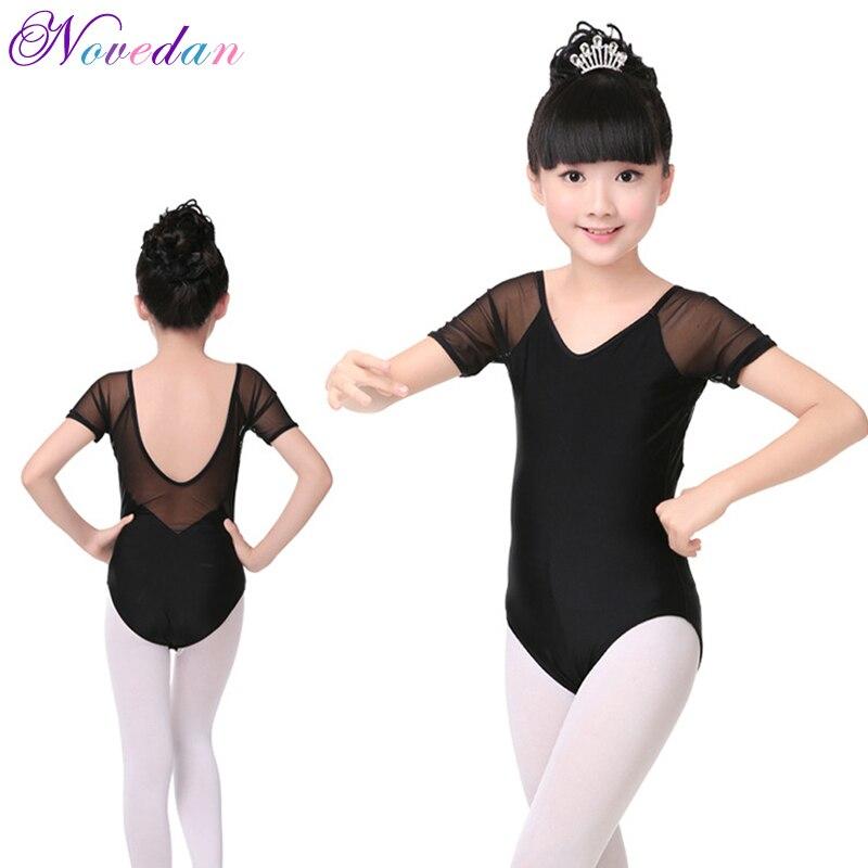 Menina ballet roupas de algodão manga curta collant roupas meninas prática dança ginástica dancewear ballet traje