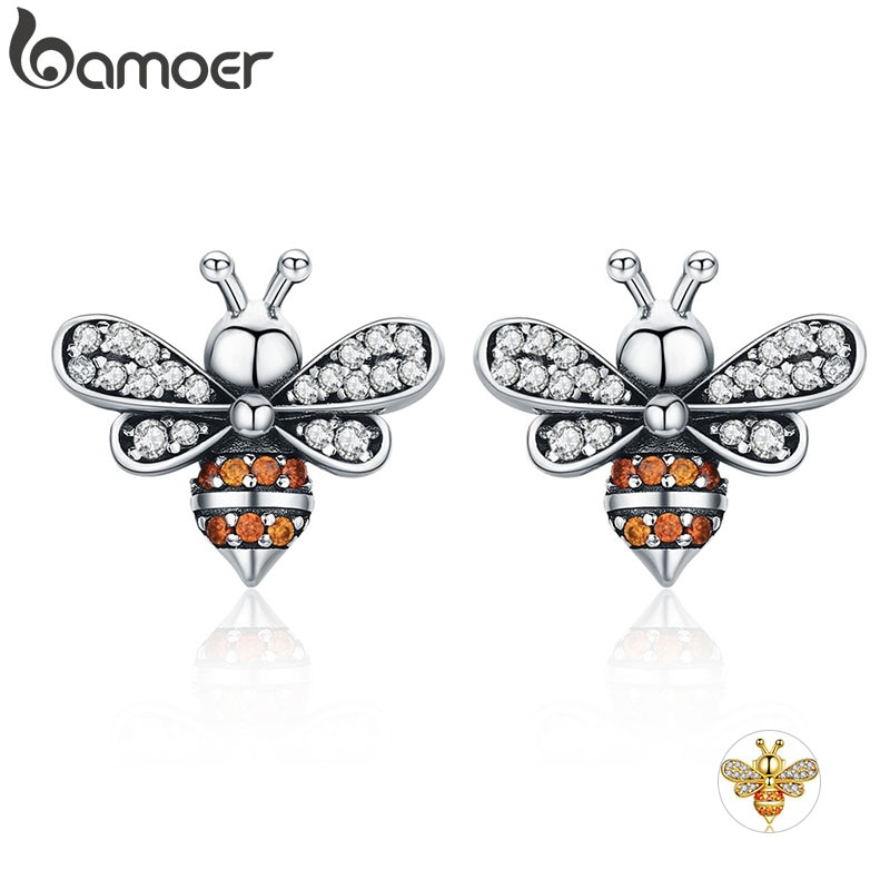 BAMOER alta calidad 100% 925 Sterling Silver Bee Story Clear CZ exquisitos pendientes de tuerca para mujeres joyería de plata de moda SCE344