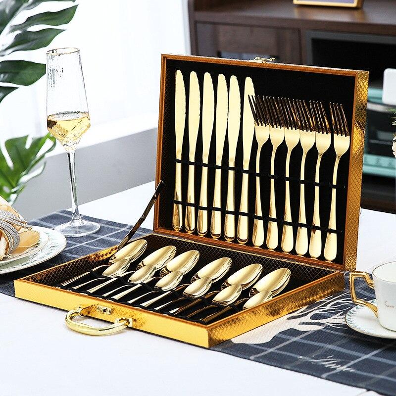 24 PIECE luxury gold stainless steel cutlery set steak knife fork spoon dessert cutlery set dinner spoon and fork set