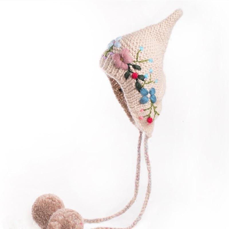 جديد قبعة الرجعية في الخريف والشتاء 2019 ، شخصية وأشار أفضل قبعة مطرزة غرامة ، محبوك قبعة كرة صوف كبيرة من الصوف