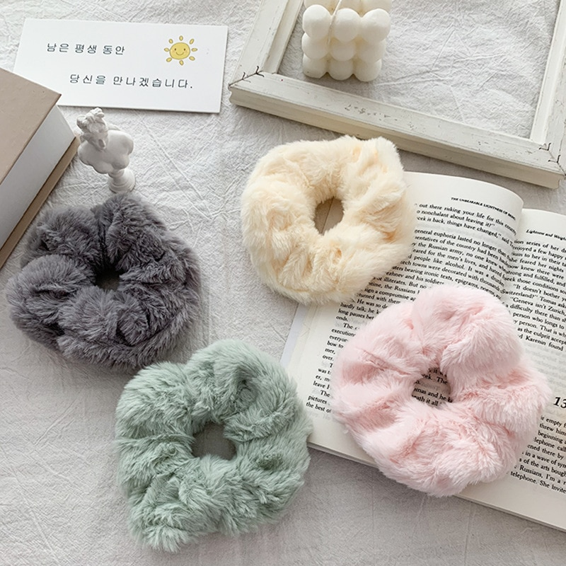 Plush Scrunchies For Girls Candy Color Hair Accessories Hair Ring Head Rope Hair Styling Tools Rubbe