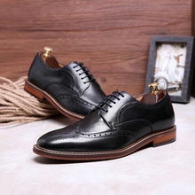 Pointed Toe British Style Oxfords Brogues Men Dress Shoes Genuine Leather Imported Shoes Turkey 2020