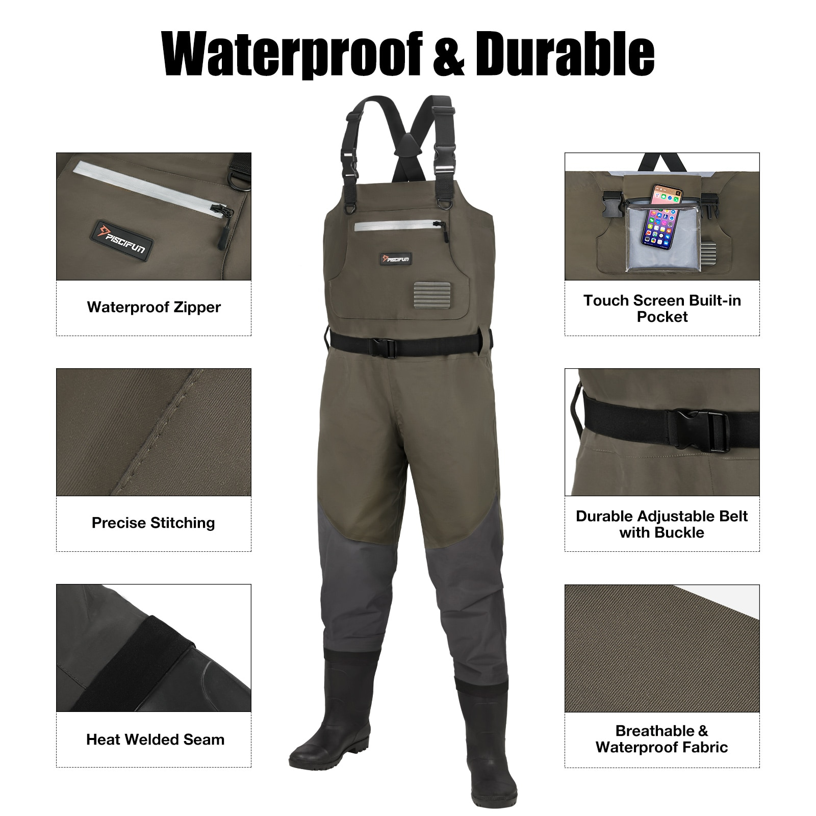 Piscifun BX Chest Wader Waterproof Breathable Fishing&Hunting Waders for Man and Women with Boot and Boot Hanger enlarge