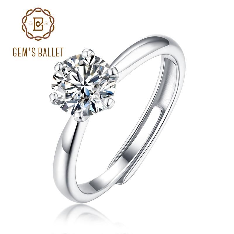 GEMS BALLET 925 plata esterlina 6 anillos ajustables de novia 1.0Ct D Color Moissanite Solitaire anillos de compromiso para mujeres