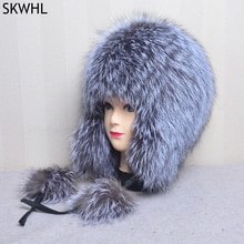 Natural Fox Fur Hats for Women Real Fur Beanies Cap Knitted Hats Russian Winter Thick Warm Fashion C