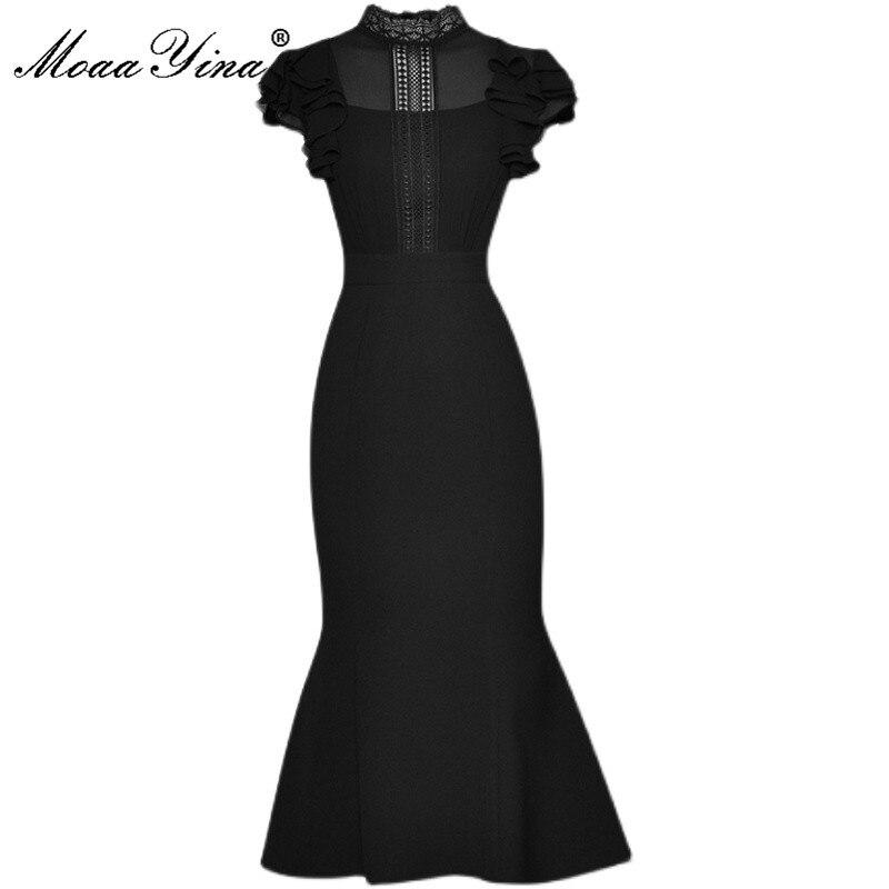 فستان حفلات بحورية البحر بتصميم عصري من MoaaYina صيفي أسود للنساء بياقة واقفة وأكمام على شكل فراشة مفرغة