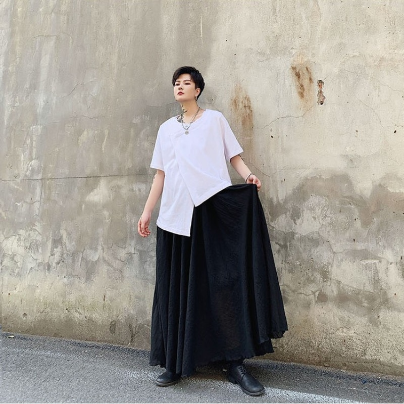 Four Seasons Dark Yamamoto, Two-tiered Design, Men's Slacks, Hairdressers, Young Men's and Women's Culotte  Linen Pants   Mens