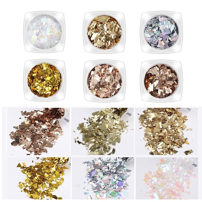 6 sztuk złote i srebrne na paznokcie Art Glitter płatki syrenka holograficzne nieregularne błyskotka Spangle DIY cekiny paznokci Manicure dekoracji