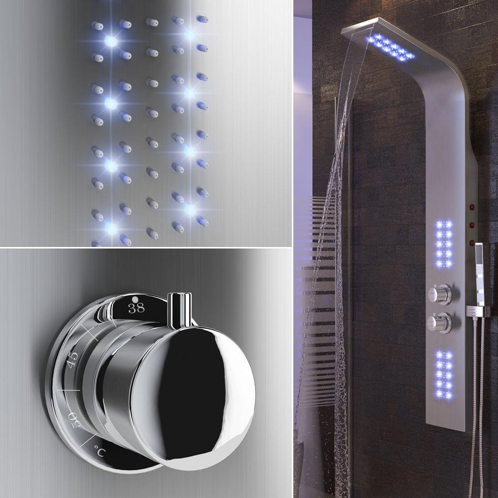 Grifo de baño con luz LED, conjunto de ducha de lluvia en cascada, grifo termostático de columna de masaje corporal con mango, grifo de pulverización HWC