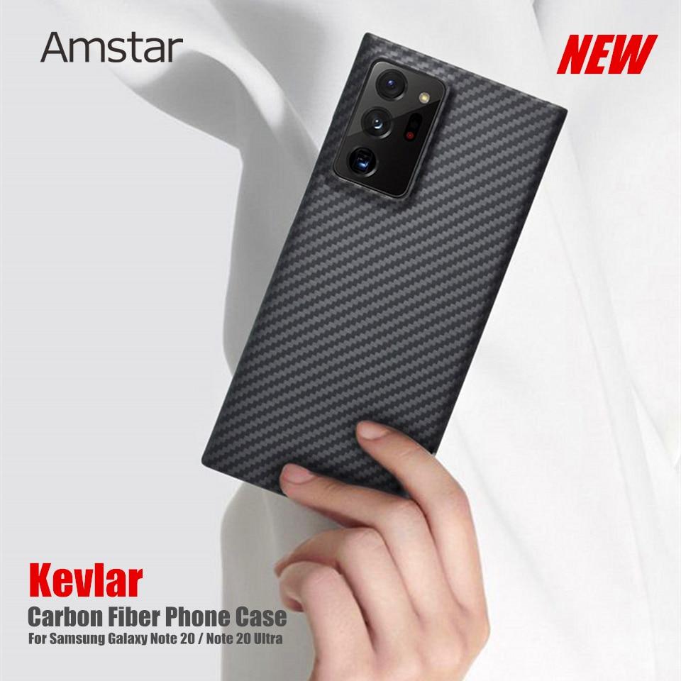 Amstar kevlar fibra de carbono capa protetora para samsung galaxy note 20 ultra real fibra de carbono ultra-fina anti-queda capa dura