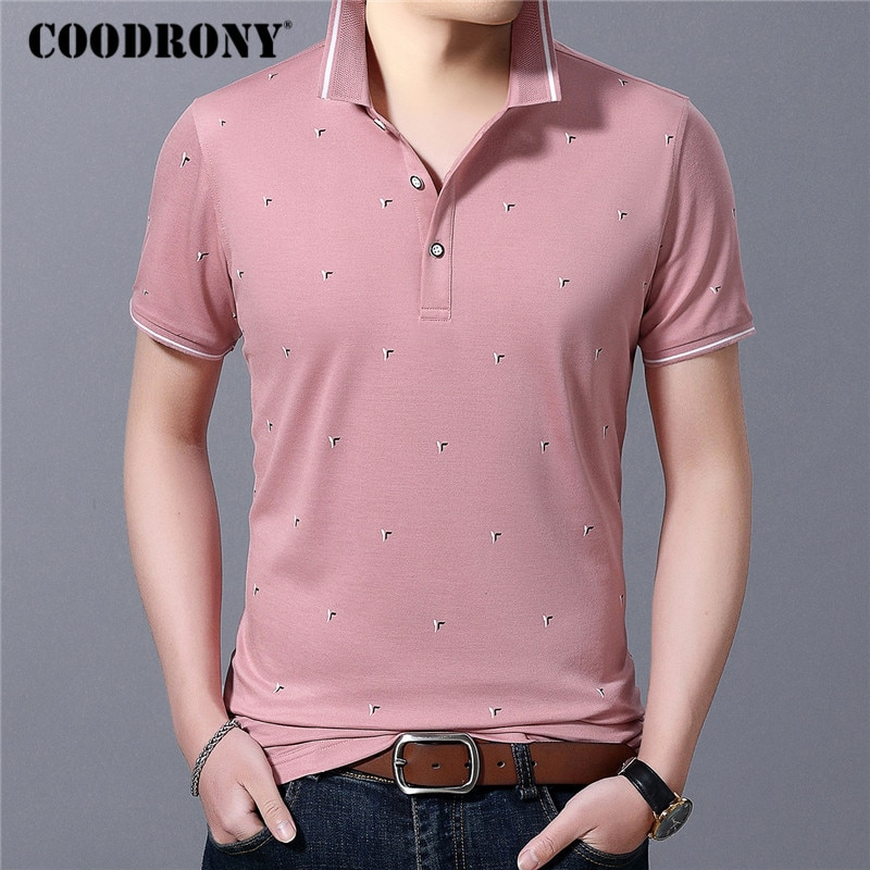 COODRONY Business Casual T-Shirt Men Spring Summer Short Sleeve T Shirt Clothing Fashion Small Collar Tee Homme C5056S