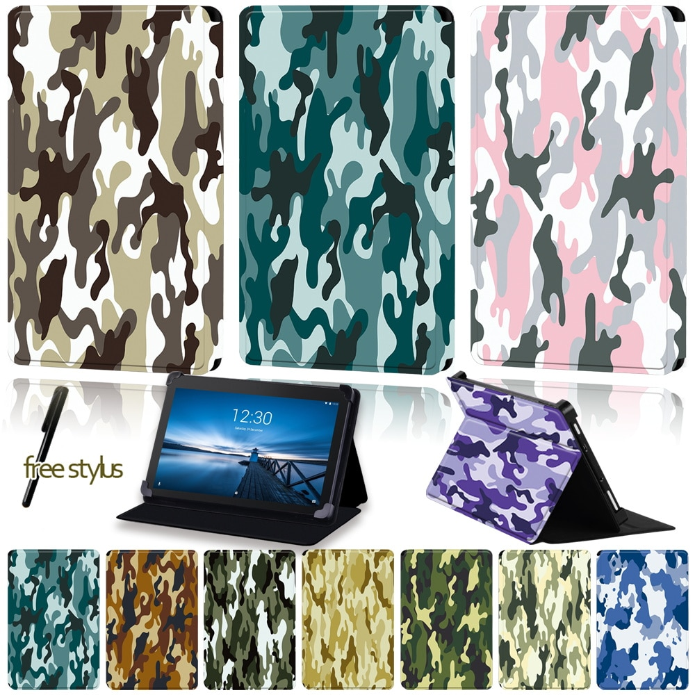 Universal Tablet Case for Lenovo Tab E7 /Tab E8 /Tab E10 Camouflage Pattern Series Four Corner Protection Stand Folding Case