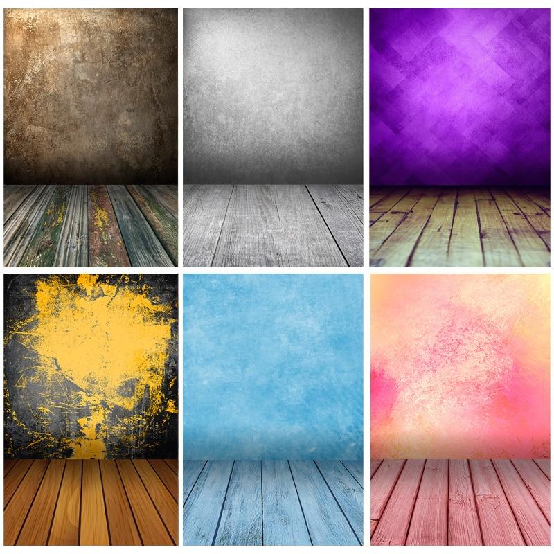 Старый Винтаж градиент сплошной Цвет задники для фотосъемки кирпичная стена деревянный пол детского портрета фото Фоны 210125MB-06