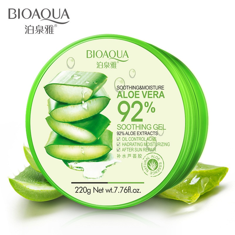 BIOAQUA 220g 92% Pure Natural Aloe Vera Gel Smoothing Moisture Repair Cream Anti-Aging Hydrating Moist Sunblock Face Mask