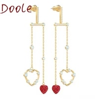 high quality swa fashion jewelry and romantic golden heart shaped crystal tassel red love dangle earrings for women