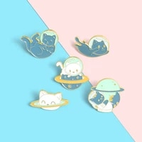 cats astronaut enamel pins custom explore space universe planet brooches shirt lapel badge bag animal jewelry gift for kids