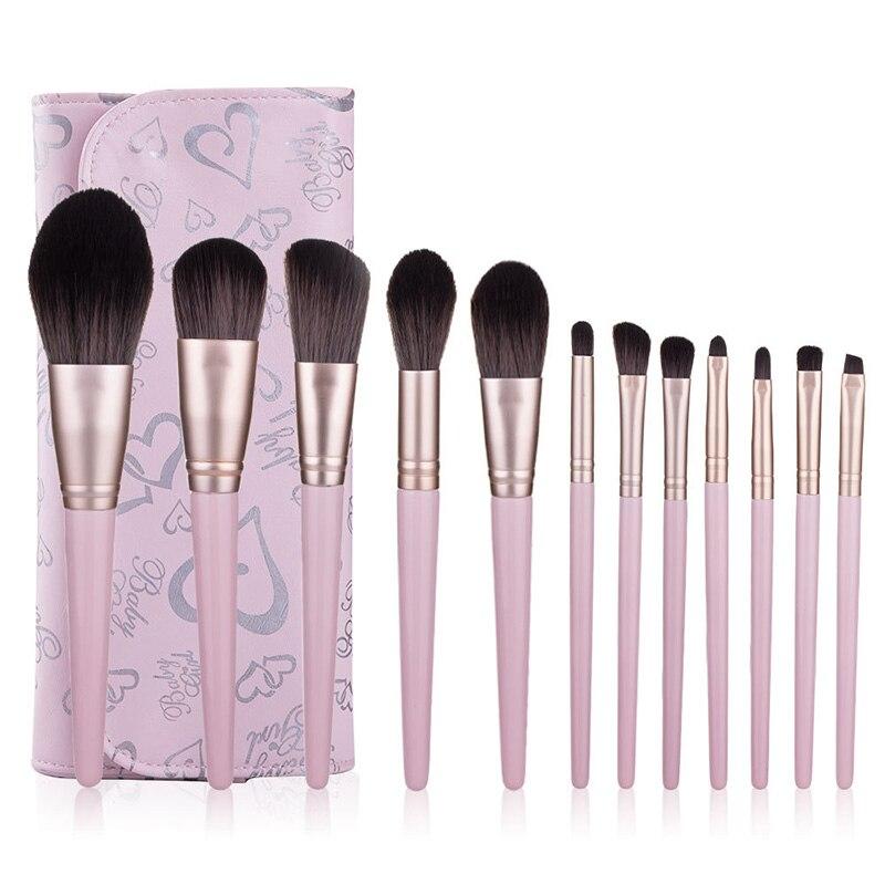 Juego de 2 brochas de maquillaje rosa, Set completo de herramientas de belleza para principiantes