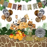 10 guests woodland animals disposable tableware leopard strip party tiger boy one birthday party forest aminal party baby shower