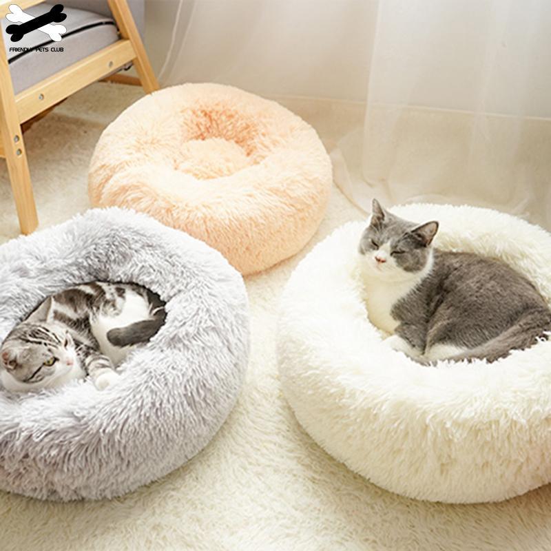 Cama de Gato de felpa larga Super suave lecho de mascota caseta ronda perrera perro casa gato invierno cálido saco de dormir cachorro cojín esterilla perro suministros