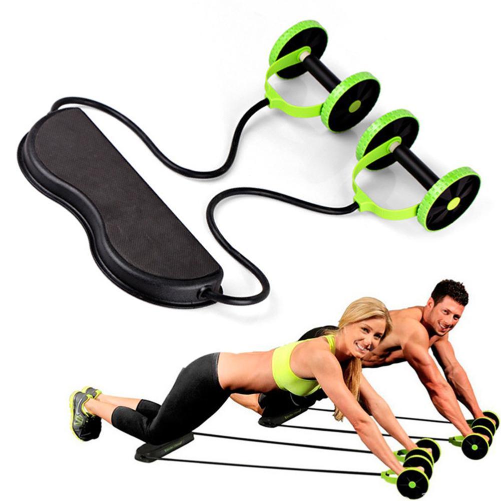 Rueda de rodillo Ab, rueda de entrenamiento muscular doble, bandas de resistencia eléctricas para el gimnasio, equipo de entrenamiento de piernas y cintura para brazos