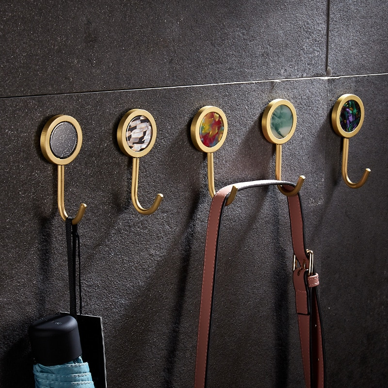 Dooroom Brass Hook Shell Nordic Pastoral Perforation-Free Household Hallway Bathroom Kitchen Corridor Wall Hanging Coat Hooks
