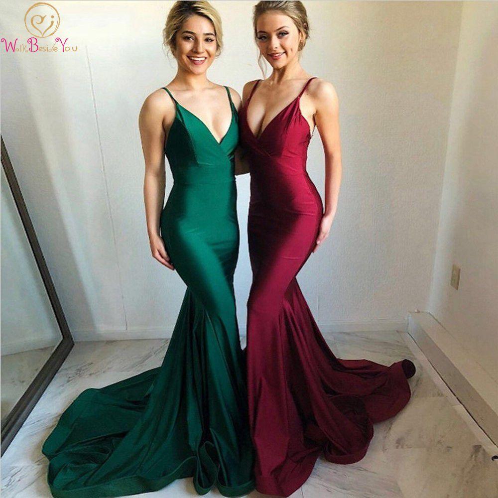 Burgundy/Green Mermaid Formal Long Prom Dresses 2020 Backless Spaghetti Straps V-Neck Satin ladies Evening Gown vestido de festa