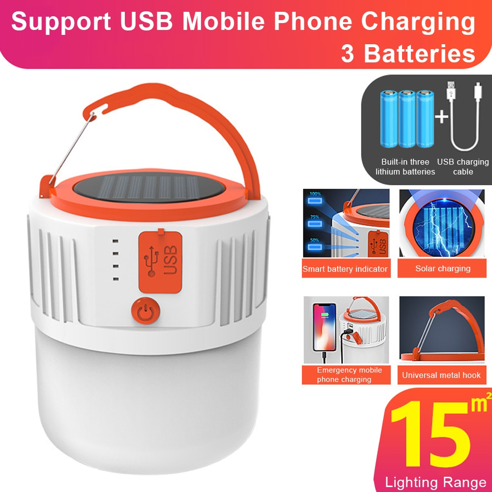 Linterna portátil USB de energía Solar, lámpara móvil con cuenta de 24LED para Camping al aire libre, uso Accidental, carga Solar lamb