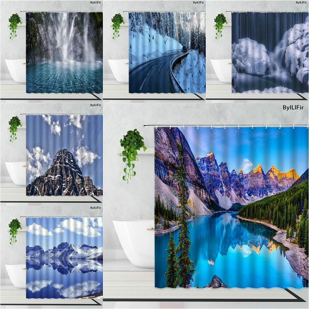Winter Snow Ice Mountain Lake Forest Scenery Shower Curtains Beautiful Natural Landscape Home Decora