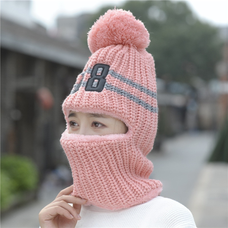 Популярные многофункциональные вязаные шапки, Балаклава, зимние шерстяные шапки для женщин, шапки, толстая маска, помпоны, шапки
