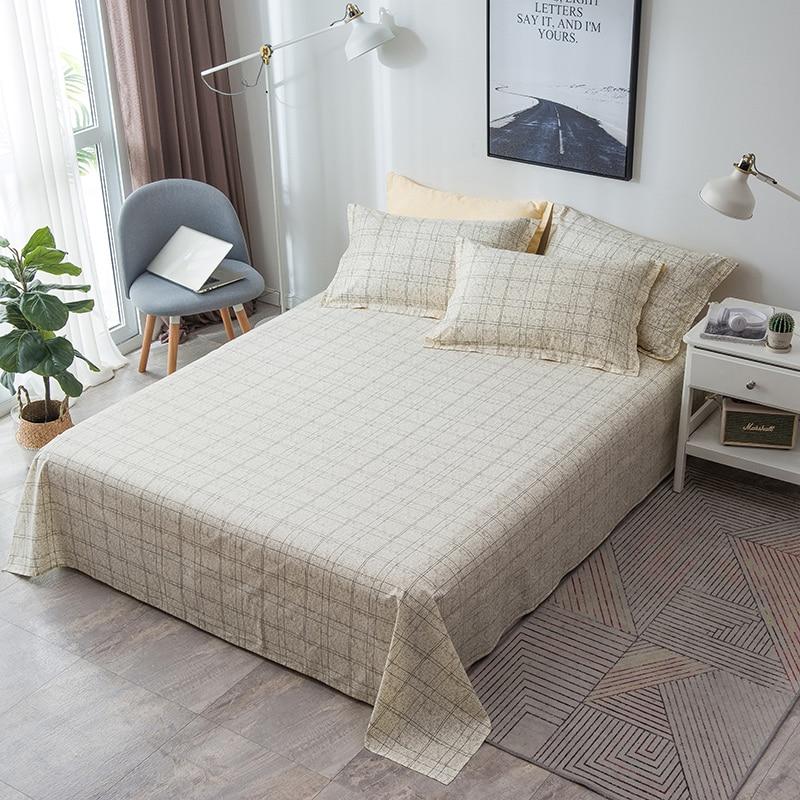Textiles para el hogar Retro Beige amarillo Plaid sábana plana suave 100% de algodón sábana de cama doble completa Queen King ropa de cama