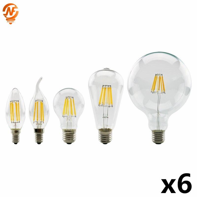 6 шт./лот Светодиодная лампа Эдисона E27 G45 A60 G80 G95 Светодиодная лампа E14 C35 C35L лампа накаливания 220 В 2 Вт 4 Вт 6 Вт 8 Вт Ретро винтажная стеклянная л...