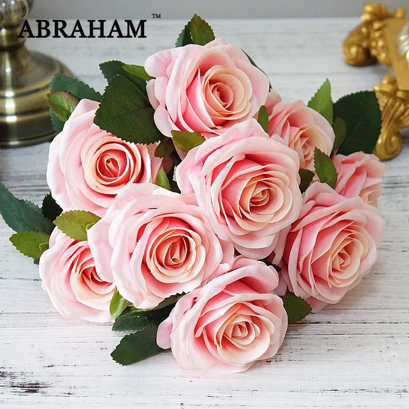Ramo de flores rosa de seda de 45cm 10 cabezas ramo de flores artificiales ramo de flores rojo falso ramo de novia para el hogar de boda otoño Decoración