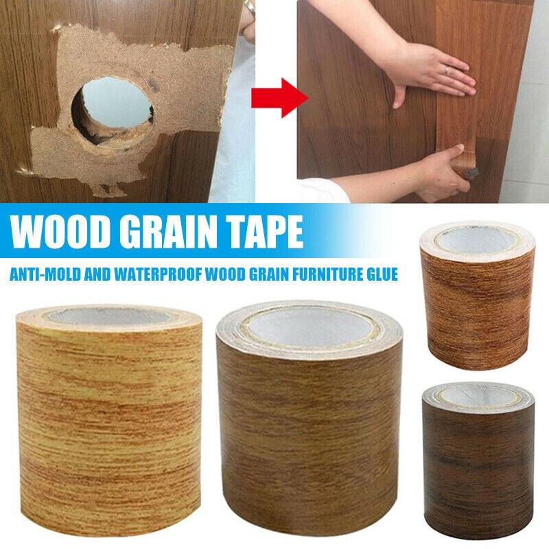 ¡Novedad de 2020! Cinta autoadhesiva resistente al agua, cinta adhesiva de grano de madera Artificial, cinta adhesiva de roble y Chocolate para reparación de muebles de hogar, cinta adhesiva