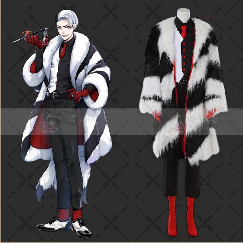 Twisted wonderland divus crewel cosplay traje unifrom outfit inverno casaco de pele-forrado trajes de halloween festa fantasia ternos