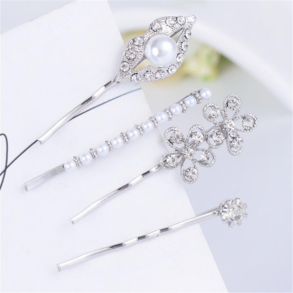 4 Pcs Fashion Women Girls Pearl Hairclips Lip Flower Hairpin Crystal Rhinestones Barrette Chic Hair Accessories