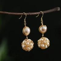 green purple drop earrings natural baroque pearl handmade earrings long drop for women charm fashion jewelry gift