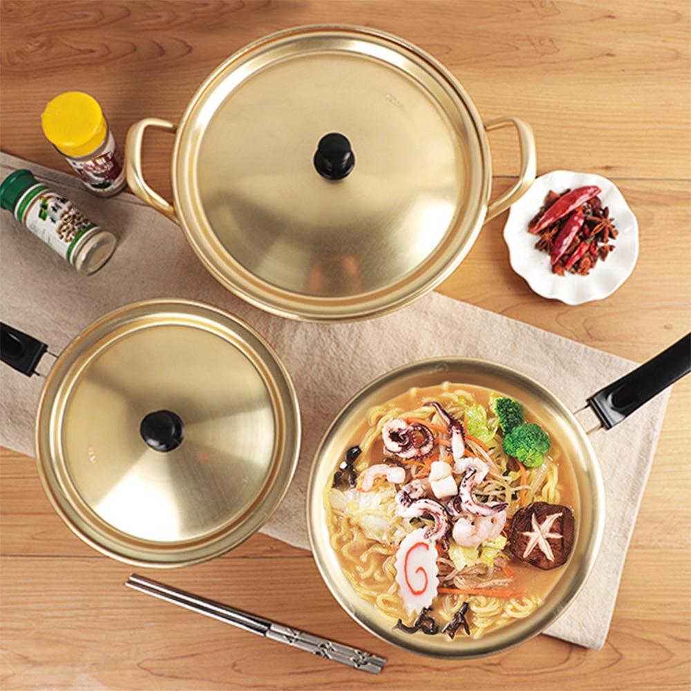 Kitchen Korean Ramen Noodles Pot Aluminum Soup Pot With Lid Long Handle Noodles Milk Egg Soup Cooking Pot For Kitchen Cookware