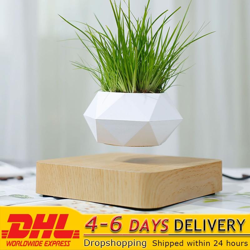 Floating Geometric Magnetic Levitating Flower Pot Bonsai Creative Humidifier Self Watering Planter Home Office Desk Decor DHL