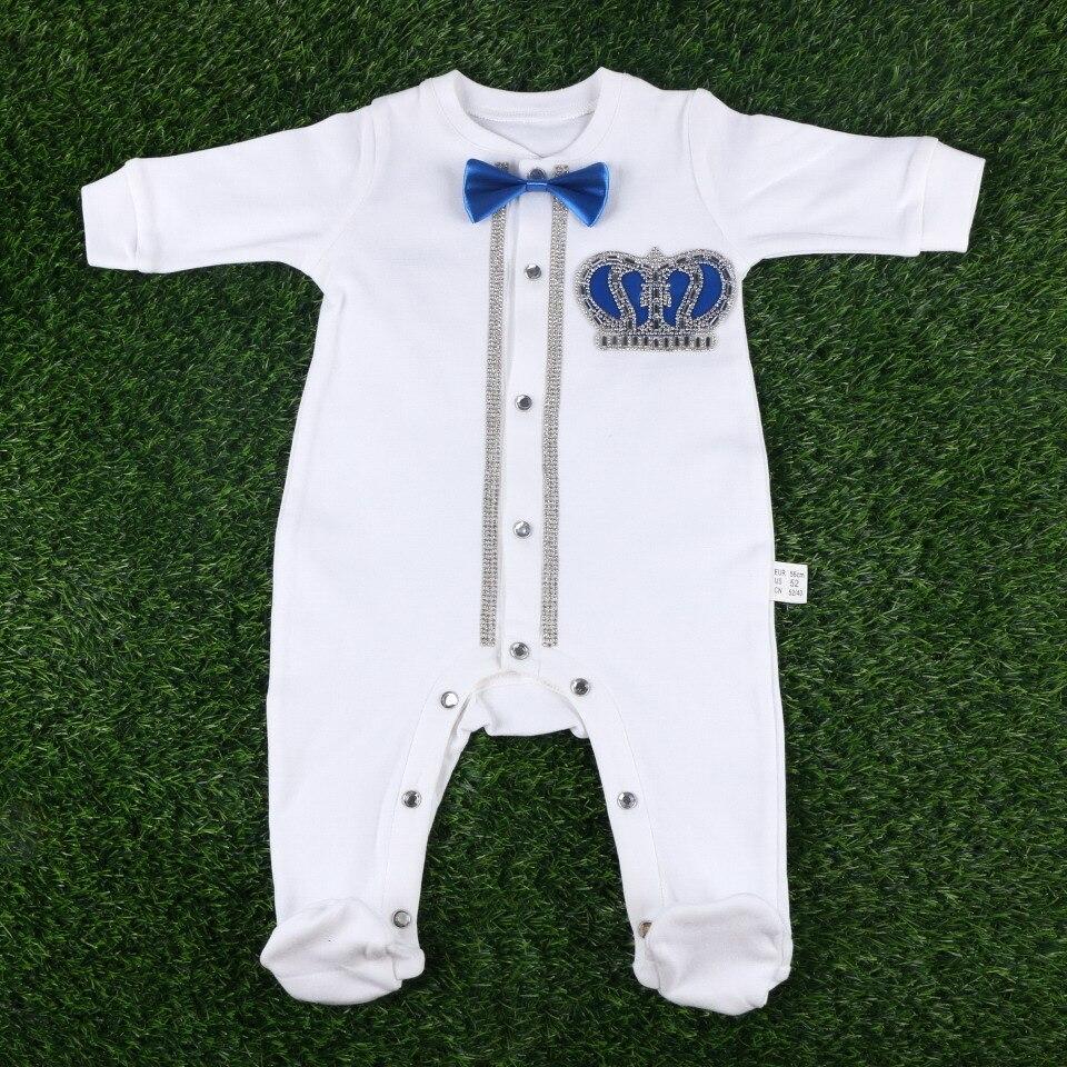 0-3 months baby girl boy handmade crown pattern bowtie white hat glove shoe bibs rompers newborn footies jumpsuit clothes sets