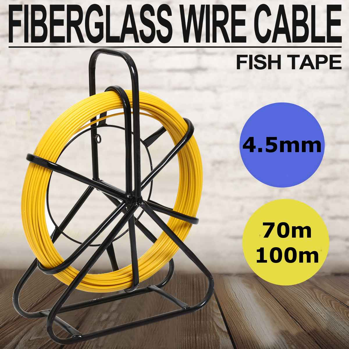 4.5mm 100m Fish Tape Fiberglass Wire Cable Running Rod Duct Rodder Fishtape Puller For Floor Conduit Telecom Wall