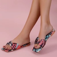 new 2021 summer woman print flat slippers pu leather feminino bohemian beach casual chaussure outside rome bow knot slides shoes