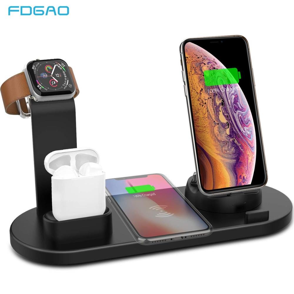 FDGAO 4 in 1 Wireless Charging Stand For Apple Watch 6 5 4 3 iPhone 12 11 X XS XR 8 Airpods Pro 10W Qi Fast Charger Dock Station