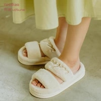 utune women fur slippers slides fluffy furry sandals woman spring autumn winter home ladies plush shoes embroidery pink green