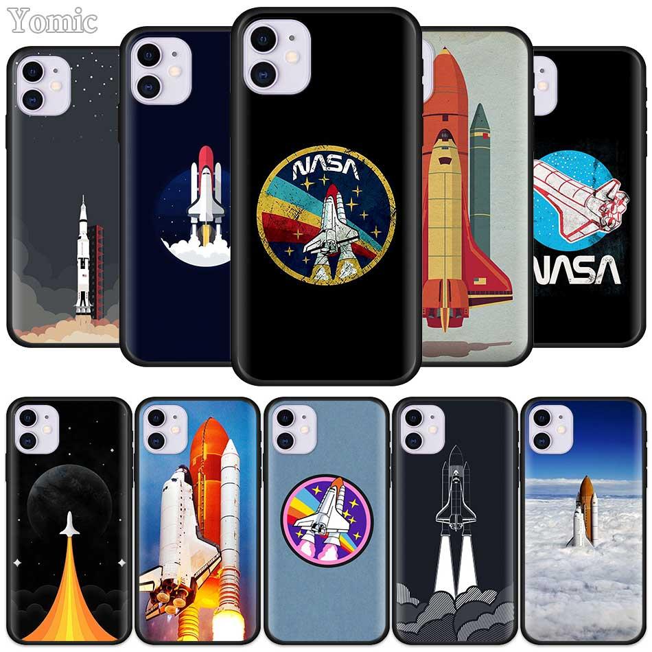 Caso de silicone para apple iphone 7 11 pro xr x xs max 8 6s mais 5 5S se 2020 preto macio capa espaço shuttle telefone sacos
