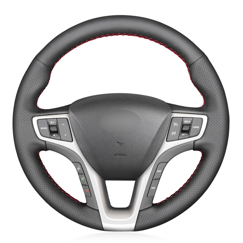 Black PU Faux Leather DIY Hand-stitched Car Steering Wheel Cover for Hyundai I40 2011-2019