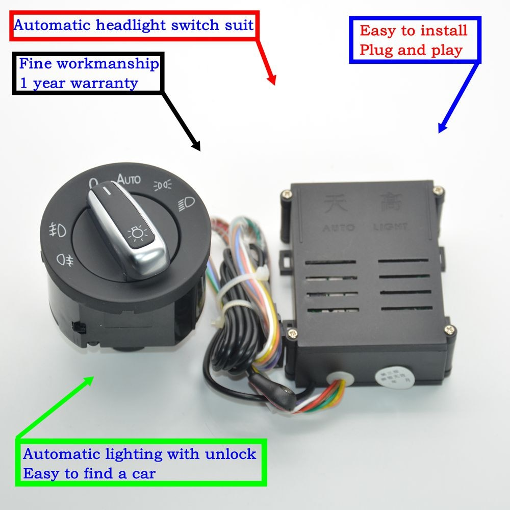 Módulo de Sensor de interruptor de faros cromados automáticos para Golf 4 nuevo MK4 Polo Bora Passat B5 Bugs 5ND941431B 5ND 941 431 B